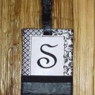 MONOGRAMED INITIAL LUGGAGE TAG LETTER S BLACK AND WHITE NEW GANZ TRAVEL TAG