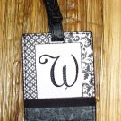 MONOGRAMED INITIAL LUGGAGE TAG LETTER W BLACK AND WHITE NEW GANZ TRAVEL TAG