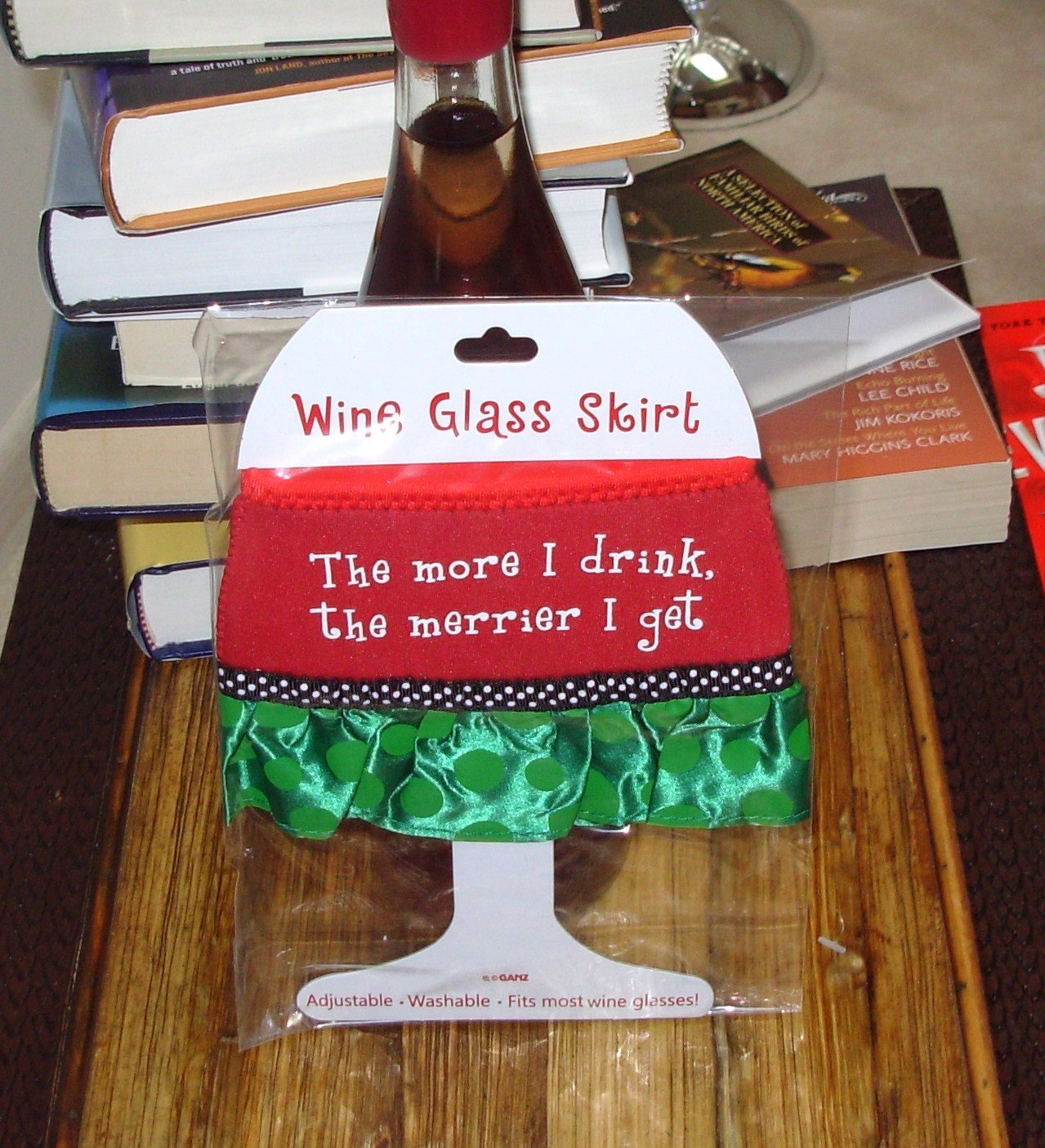 THE MORE I DRINK HOLIDAY WINE GLASS SKIRT CHRISTMAS HOLIDAY  ADJUSTABLE WASHABLE NEW GANZ