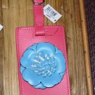 FLOWERS LUGGAGE TAG NEW GANZ ROSE WITH TURQUOISE COLORED FLOWER