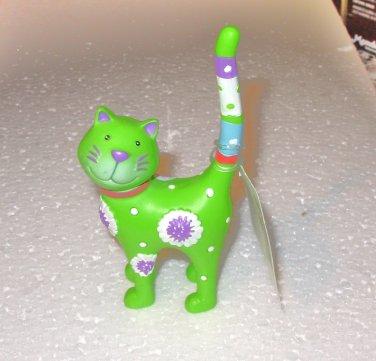 RING HOLDER KITTY CAT POLYSTONE NEW GANZ GREEN
