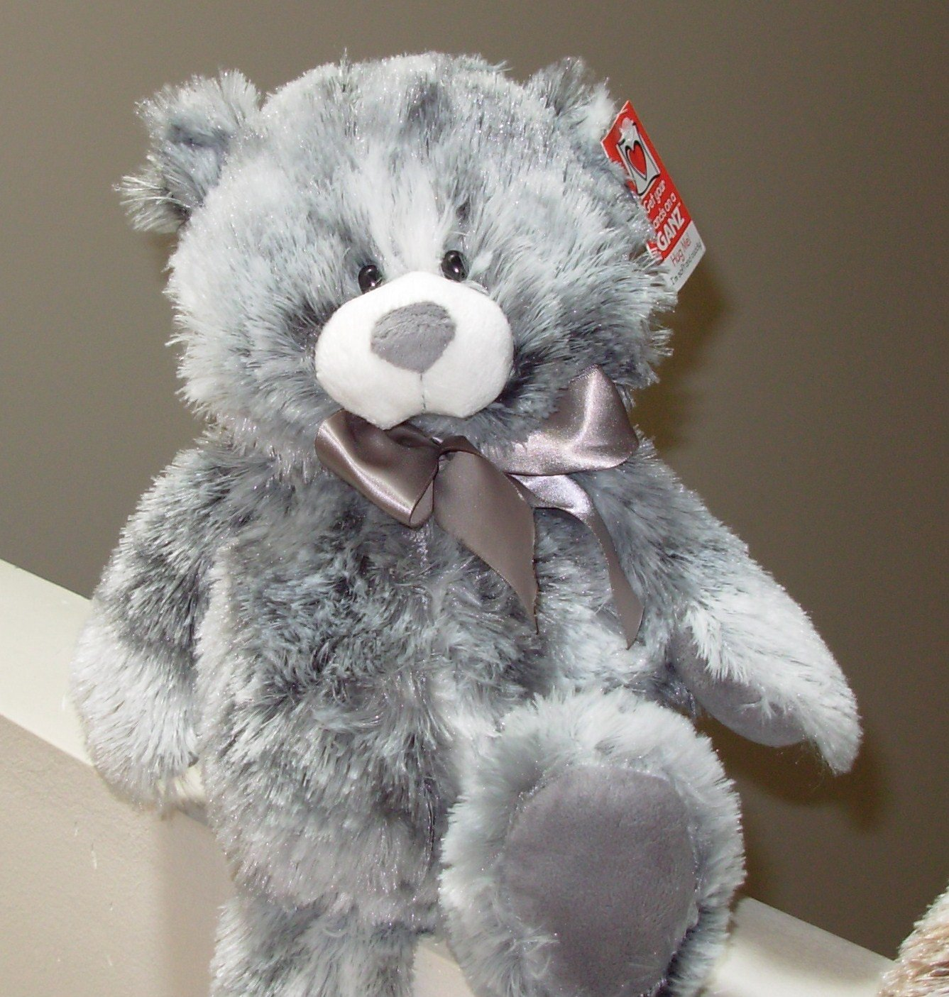 NEWPORT BEAR NEW GANZ PLUSH STUFFED TEDDYBEAR GREY 15 INCH