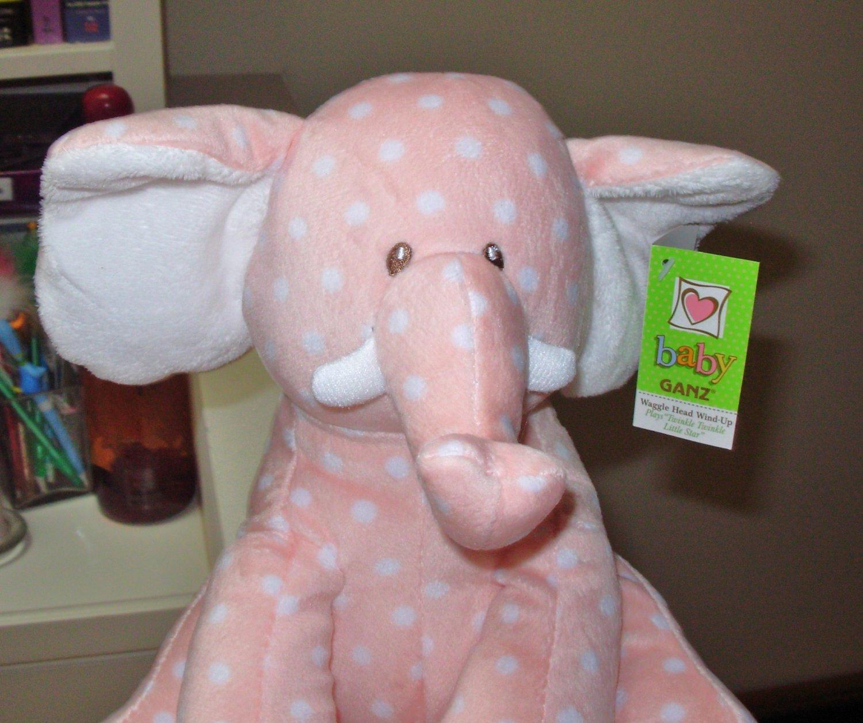 WAGGLE HEAD ELEPHANT BABY GANZ NEW PLUSH STUFFED ANIMAL PLAYS TWINKLE TWINKLE LITTLE STAR NEW