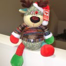 JOLLY FOLLIES REINDEER PLUSH STUFFED ANIMAL IN WRAPPED YARN SWEATER NEW GANZ CHRISTMAS
