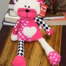 GANZ QUILITEES KITTY CAT PLUSH STUFFED ANIMAL NEW CORDUROY HALEQUIN HEART PLUSH TOY