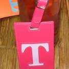 LETTER T INITIAL LUGGAGE TAG NEW GANZ IN HOT PINK WITH LETTER T IN PINK VINYL
