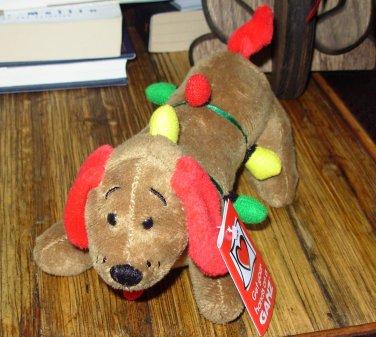 DIGGER CHRISTMAS HOLIDAY PLUSH STUFFED ANIMAL TANGLES IN LIGHTS NEW GANZ DACHSHUND