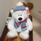WOOLSMERE BEAR WHITE PLUSH STUFFED ANIMAL HOLIDAY BEAR NEW GANZ