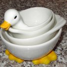 DUCKY MEASURING CUPS 4 PIECE SET CERAMIC NEW GANZ KITCHEN DECOR