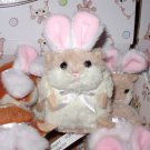 LIL BUNNY HAMSTER CREAM AND WHITE WITH RABBIT EARS NEW GANZ PLUSH STUFFED ANIMAL