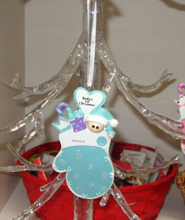 BABYS FIRST CHRISTMAS ORNAMENT BLUE NEW BABY GANZ CELEBRATE BABY FIRSTS THIS HOLIDAY
