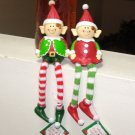 PAIR OF ELF SHELF SITTERS NEW GANZ HOLIDAY CHRISTMAS DECOR ELF ON THE SHELF SANTAS LITTLE HELPERS