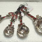XMAS MEASURING SPOONS SET CANDY CANES AND HOLLY BLESSINGS LOVE HUGS JOY HEAVY ZINC NEW GANZ