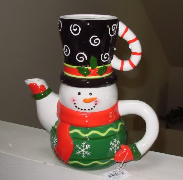SNOWMAN TEA FOR ONE POT AND CUP NEW GANZ CHRISTMAS HOLIDAY HOME DECOR TABLEWARE CERAMIC