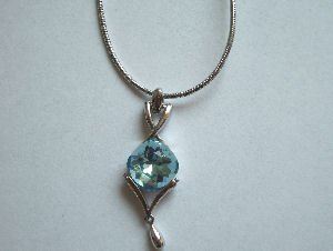 Original Design by William Wang Swarovski Crystal Aquamarine Necklace With Platinum Finish