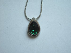 Original Design by William Wang Teardrop Swarovski Emerald Green Crystal With Platinum Finish