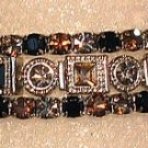 3 Bracelet Swarovski Jet and Smoky Topaz