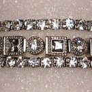 3 Bracelets Black Diamond and Clear Square and Round Bunch Crystals