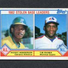 1983 Topps Baseball #704 Rickey Henderson / Tim Raines LL - Athletics / Expos EX