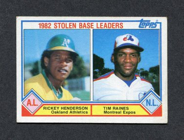 1983 Topps Baseball #704 Rickey Henderson / Tim Raines LL - Athletics / Expos EX