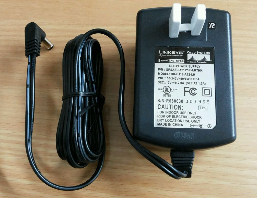Linksys Power Supply  AD 12/1.5 Input 100-240 VAC .6A Output 12VDC 2.0A