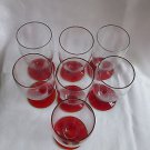 "(7) 40s VTG ruby footed glass water goblets, 3.75""hi, 3.5"" wide, A++ & unusual!!"