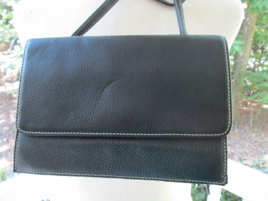 CLARK's black leather purse/bag, NWT, top stitching, many compartments,smart!!