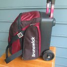 Brunswick bowling ball, shoes, rolling bag, perfect shape, maroon, get ready!!