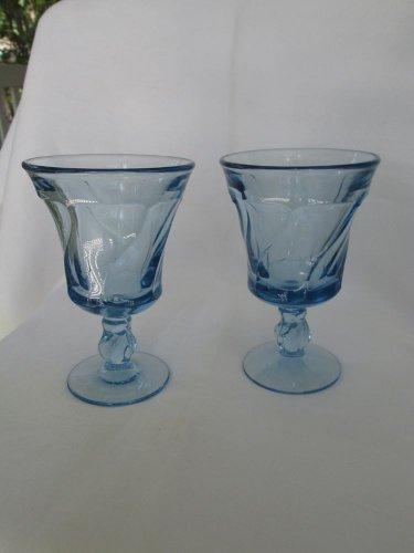 """Vtg. FOSTORIA """"Jamestown"""" aqua water goblets, 6"""" hi, A++ condit, elegant & glam!"""