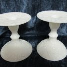 "Milk glass candlesticks, floral carving, 5""hi, base 4"" wide, one w/mended break"
