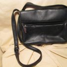 "Liz Claiborne black leather 20"" medium purse/handbag ,many compartments! 7.5""x9"""