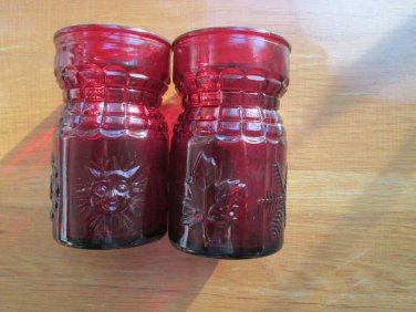 "Red glass candleholders - holiday perfect - whatever holiday! 3.5"" hi - festive"