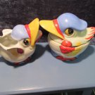 "Retro 50s ""Angry Birds"" cream & sugar, worn but good shape, Japanese made"