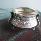 Vtg (60s) Russian silvery salt cellar w/glass inset,  ornate & footed, A++ shape