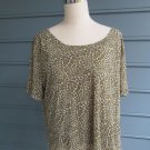 Liz Claiborne leopard pattern lightweight 100% nylon TOP/BLOUSE, Sz 2X,darling!!