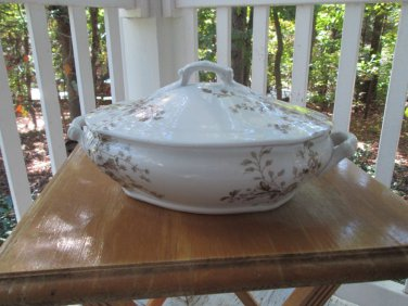 """Antique tureen/serving bowl, TC&F Booth, England, A++, """"Parisian Granite"""" lovely"""