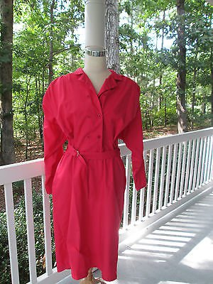 Rosy red classic shirtwaist dress, Sz 16 by SUNSHINE/STARSHINE, easy care, A++!
