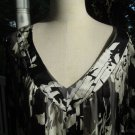 RORY BECA DRESS, Sz L, B&W lined silk print, A++, elegant & loose style! Classy