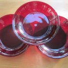 "(3) 40s Ruby Red GLASS Plates/Bowls,  7.5"" around, 1.5"" deep, perfect condition"