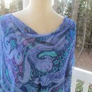Silky paisley blue 2-PC DRESS by STUDIO I, Sz 24W, NWT, elegant flow,perfection!