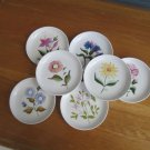 50s Vtg (7) flowered porcelain coasters, boxed; beauties in A++ ccondition,gift!