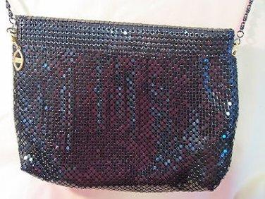 '60s vtg evening bag/purse/carryall, black beaded, elegant, metal strap, zips!