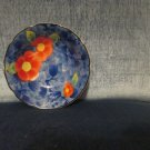 "Tiny flowered trinket dish/bowl,4.5"" across, pretty blue w/peonies, A++ pretty!!"