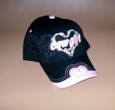 "Black ""Cowgirl Babe"" Hat Embroidered Horseshoe Women Girls Baseball Cap New!"