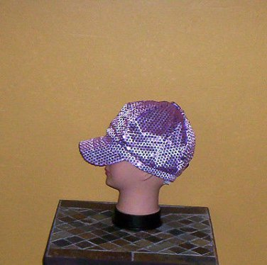 Ladies Sequin Newsboy Hat LAVENDER LILAC Womens Shiny Sequinn Cap New w/Tag!