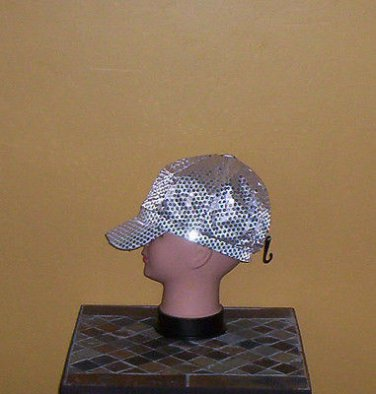 Ladies Sequin Newsboy Hat SILVER Womens Shiny Sequinn Cap New w/Tag!