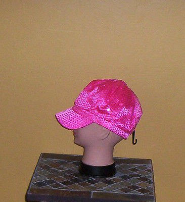 Ladies Sequin Newsboy Hat HOT PINK Womens Shiny Sequinn Cap New w/Tag!