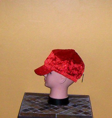 Ladies Sequin Newsboy Hat RED Womens Shiny Sequinn Cap New w/Tag!