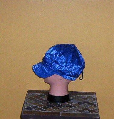 Ladies Sequin Newsboy Hat MEDIUM BLUE Womens Shiny Sequinn Cap New w/Tag!