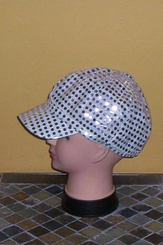 Silver Sequin Diva Fashion Newsboy Hat Cap New!